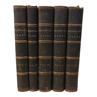 Decorative Antique Leather Books - Set of 5