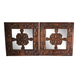 Bohemian Hand-Carved Mirrors - A Pair