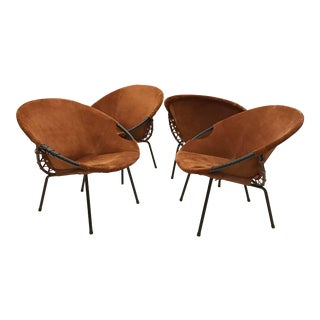 Two Pairs of Suede Mid-Century Barrel Chairs, France circa 1960