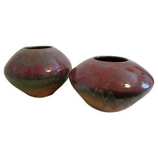 Raku Pottery Vases - Pair