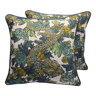 Custom Tailored Chinoiserie Asian Dragon Feather/Down Pillows - A Pair