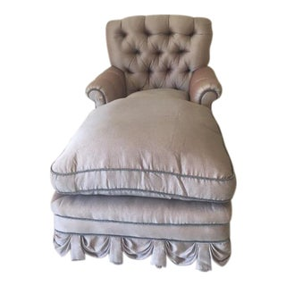 Vintage. Lavender Silk Draped Chaise