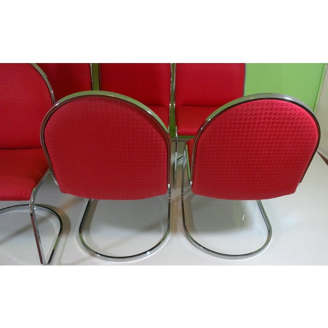 Chrome Red Upholstered Dining Chairs - Set of 8 - Image 5 of 11