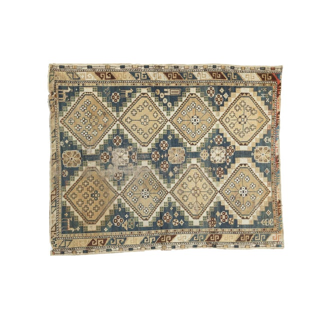 """Vintage Fragmented Caucasian Square Rug - 3'9"""" x 4'8"""" - Image 1 of 7"""