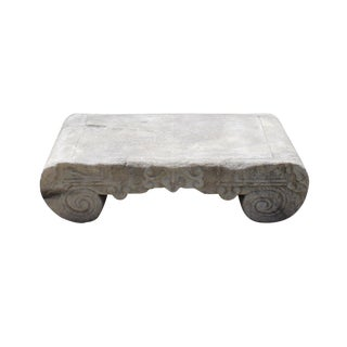 Chinese Off White Gray Marble Stone Carved Scroll Stand