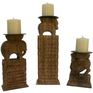 Carved Wood Animal Candleholders - Set of 3