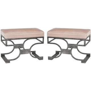Redford House Domingo Leather Hand Forged Iron Benches – A Pair