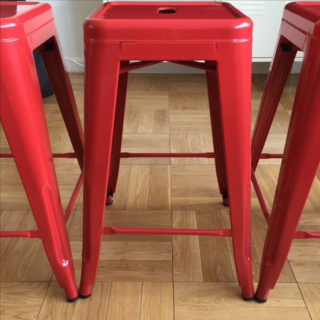 Industrial Red Metal Counter Stools- Set of 4 - Image 3 of 4