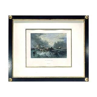 """Vintage """"The Market Boat"""" Engraving"""