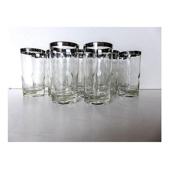 Mid-Century Modern Silver Rim Glassware - 11 - Image 6 of 6