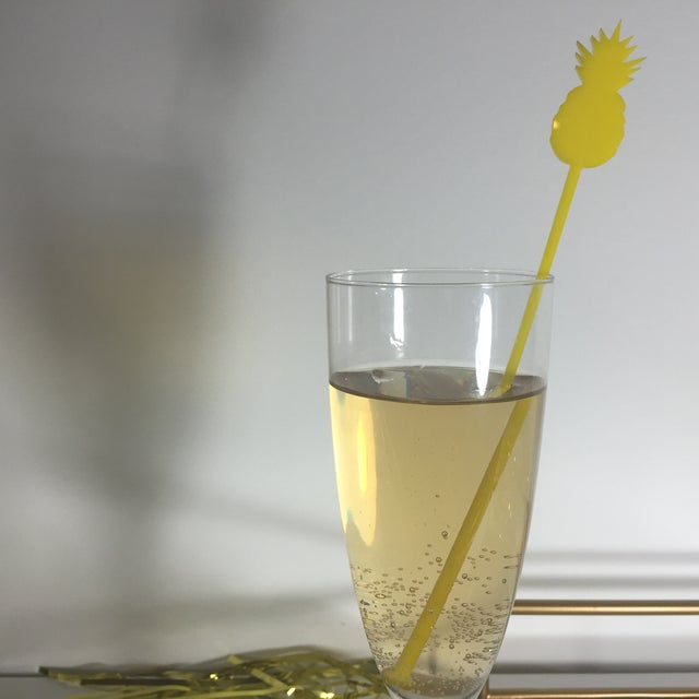 Image of Yellow Pineapple Drink Stirrers - Set of 6