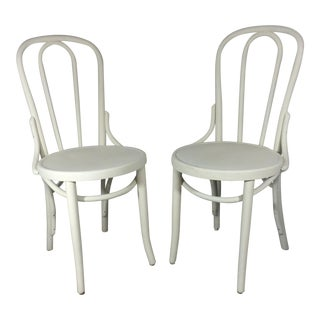 Vintage Thonet-Style Bentwood Cafe Chairs - Pair