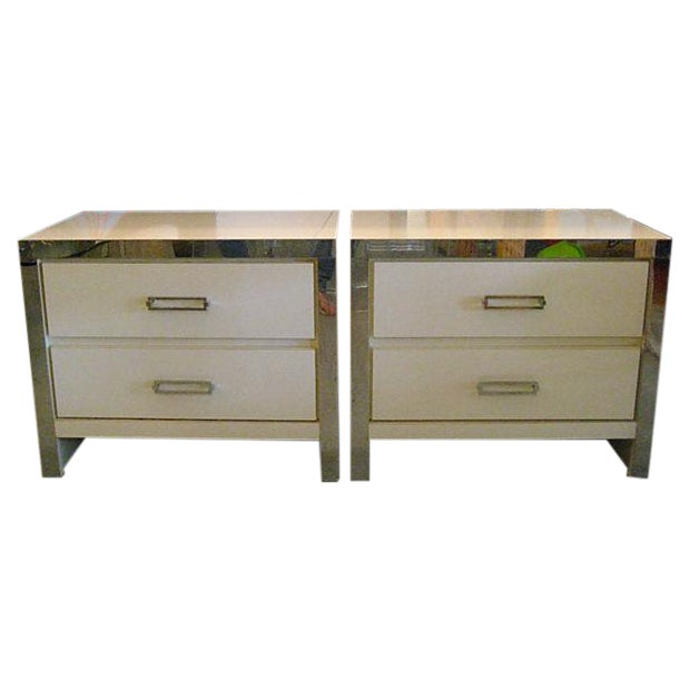 Image of White Mica Nightstands With Chrome Accents
