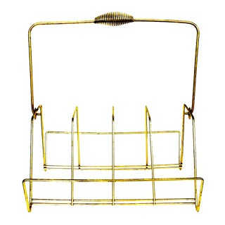 Mid-Century Brass Magazine or Record Rack