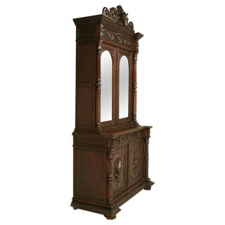 Antique French, Heavily Carved Oak Hunt Cabinet with Intricate Fox Crown