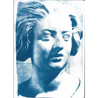 Cyanotype Print - Bernini Woman Bust Sculpture
