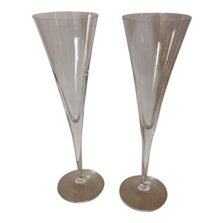 Riedel Crystal Toasting Champagne Flutes - A Pair