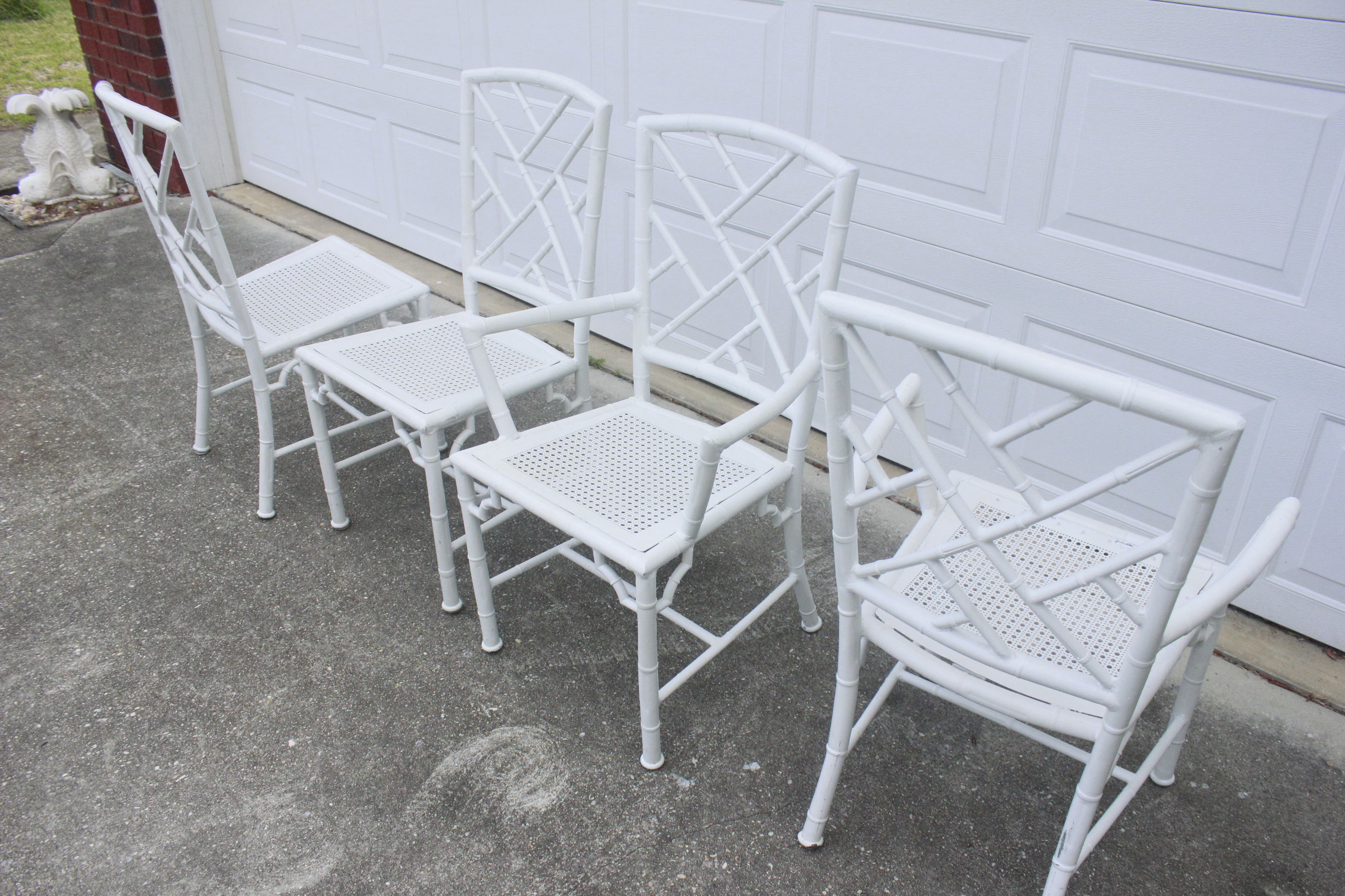 Aluminum Chippendale Faux Bamboo Patio Chairs S 4
