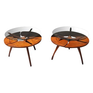 Pearsall Walnut and Glass Bi-Level Tables - Pair