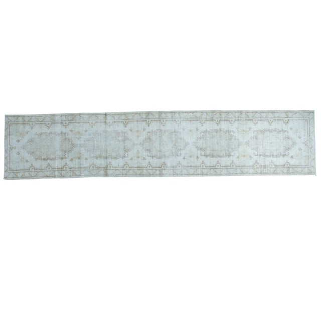 "Distressed Oushak Rug Runner - 2'8"" X 13' - Image 1 of 8"