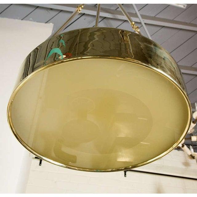 Paul Marra Brass Drum Chandelier - Image 7 of 10