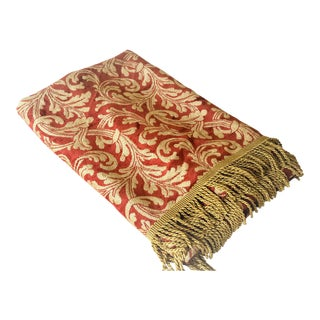 "Elegant Red & Gold Tasseled Velour Throw - 74"" x 26"""
