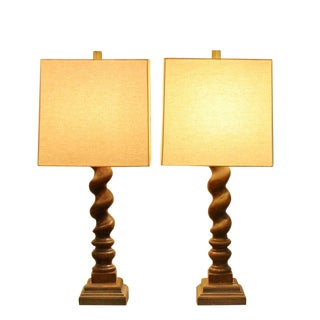 Barley Twist Table Lamps - A Pair