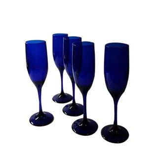 Cobalt Champagne Flutes - Set of 5