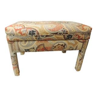 Vintage Rectangular Batik Paisley Fully Upholster Ottoman