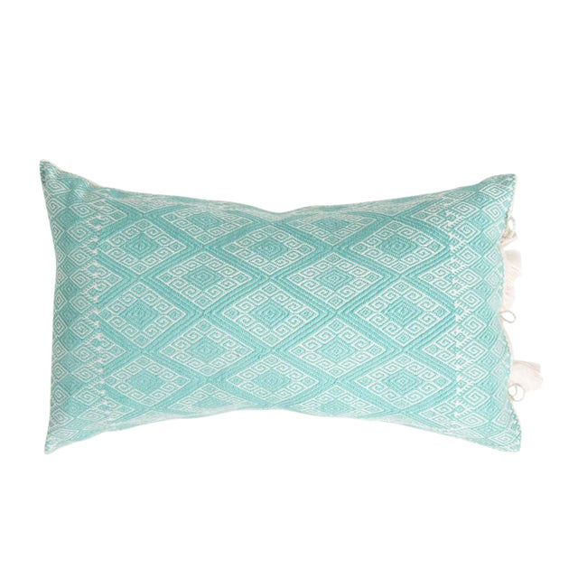 Mexican Mint Diamond Brocaded Pillow - Image 1 of 4