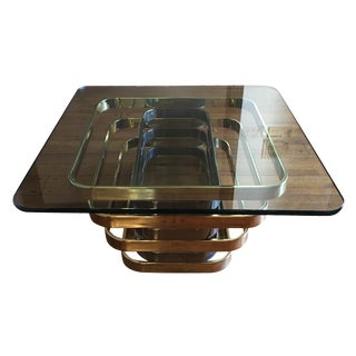 Mid Century Brass & Chrome Coffee Table