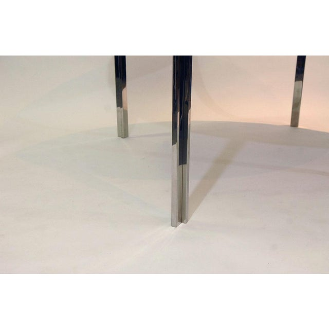 Pace Polished Stainless and Travertine Dining Table - Image 3 of 7