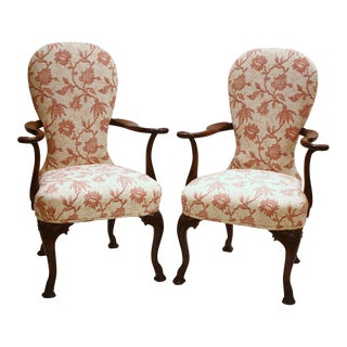 Pair of Upholstered Queen Anne Style Chairs