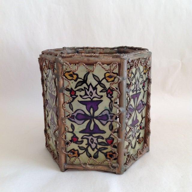 Bohemian Moroccan Brass & Glass Candle Lantern - Image 3 of 10