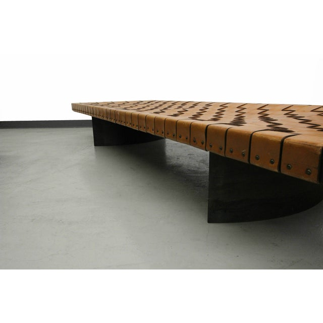 Industrial Woven Leather and Steel Bench Table - Image 7 of 7