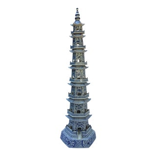 8-Tier Blue & White Chinese Porcelain Pagoda
