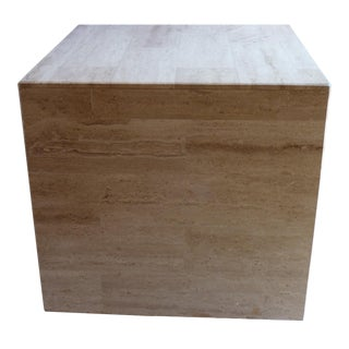 Mid-Century Modern Travertine Cube Table