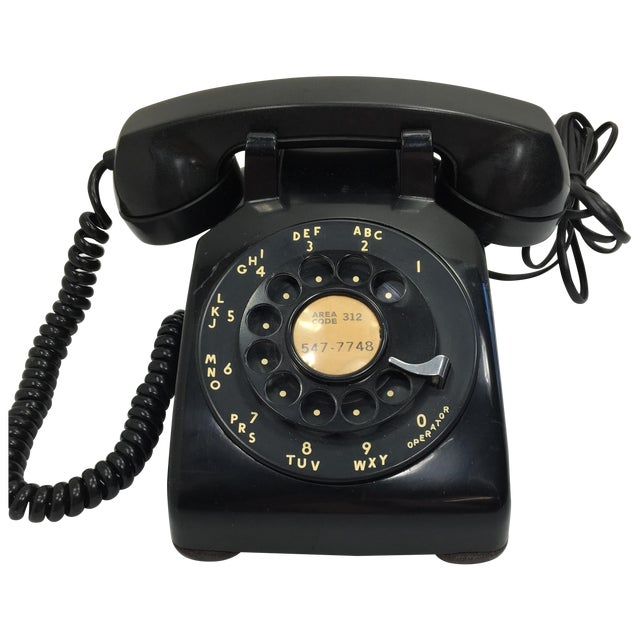 Image of Vintage 1950s Black Rotary Dial Telephone