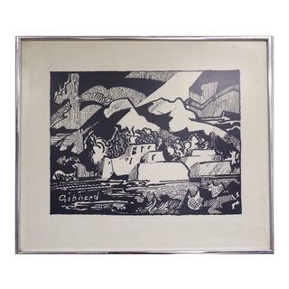 """Eric W. Gibberd """"Taos Pueblo"""" Woodcut Print"""