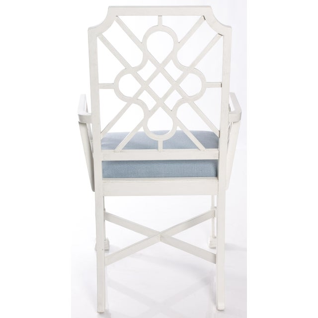 White Painted Chinese Chippendale Style Fretwork Armchairs - A Pair - Image 8 of 8