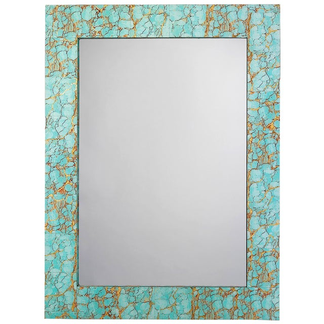 Jamie Young Turquoise & Gold Leaf Rectangle Mirror - Image 1 of 2