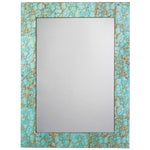 Image of Turquoise Pebble Gold Leaf Rectangle Mirror
