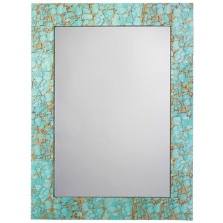 Turquoise Pebble Gold Leaf Rectangle Mirror