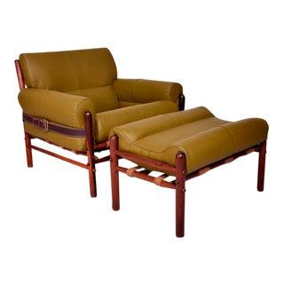 "Arne Norrel ""Kontiki""Safari Lounge Chair & Ottoman"