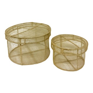Handwoven Sisal Covered Stackable Boxes - A Pair