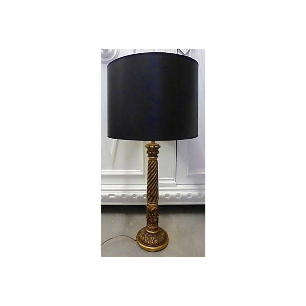 gilt wood tall table lamp chairish. Black Bedroom Furniture Sets. Home Design Ideas