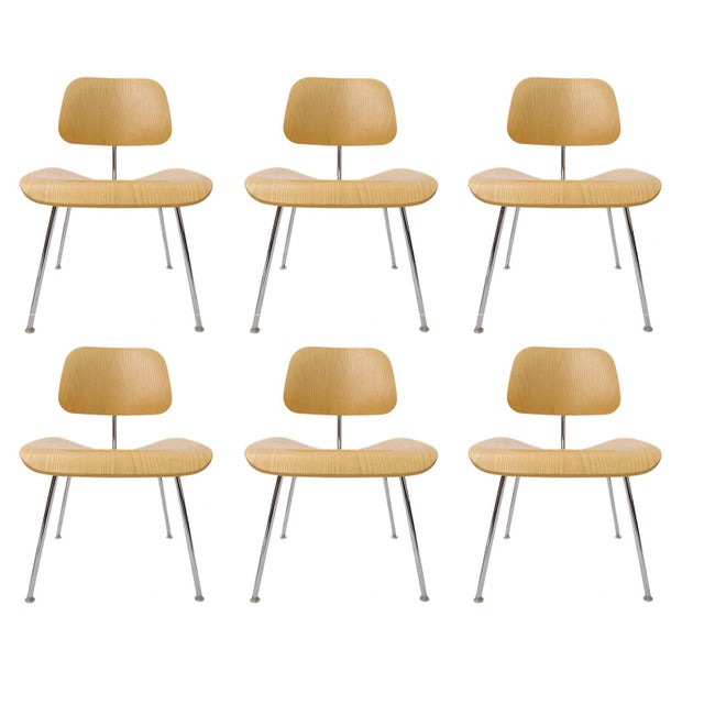 """Charles Eames """"DCM"""" Chairs for Herman Miller in White Ash - Set of 6 - Image 7 of 7"""