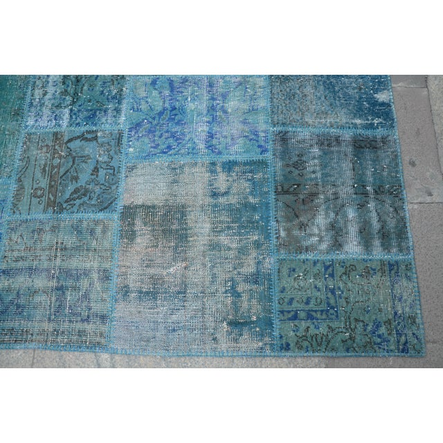 Blue Turkish Patchwork Rug - 6′10″ × 9′10″ - Image 5 of 6