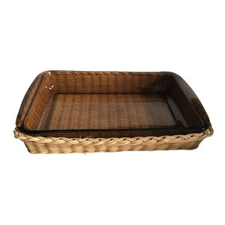 Rattan & Glass Serving Dish