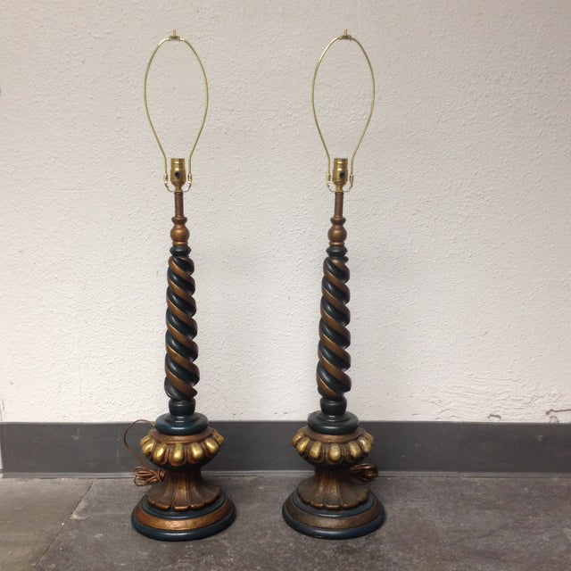 Vintage Style Spiral Table Lamps- Pair - Image 2 of 6